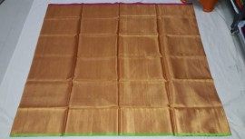 Gold uppada tissue sarees with green and pink border