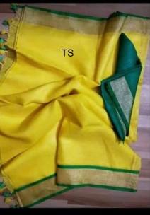 Dark yellow and dark green linen sarees