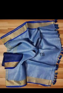 Blue and dark blue linen sarees