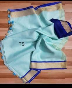 Light sky blue linen sarees