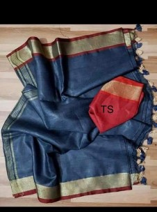 Dark navy blue linen sarees