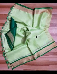 Light green and dark green linen sarees