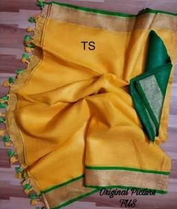 Mango yellow and dark green linen sarees