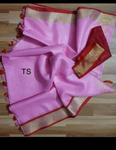 Pink and dark red linen sarees