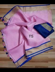 Light pink and Royal Blue linen sarees