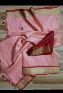 Peach and red linen sarees