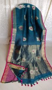 Peacock blue linen jamdani sarees