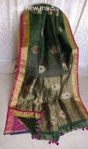 Black linen jamdani sarees