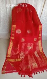 Red linen jamdani sarees
