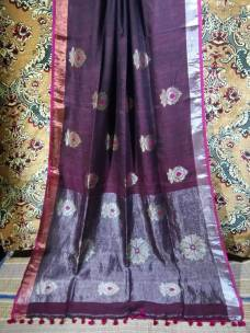 Dark purple linen jamdani sarees