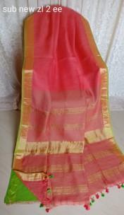 Pink and green linen sarees