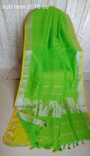 Green and yellow linen sarees
