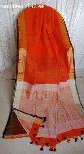 Orange linen sarees