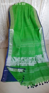 Green with dark blue linen sarees