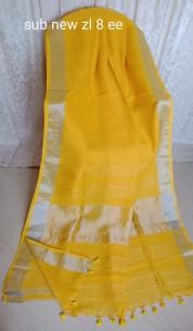 Lemon yellow linen sarees with silver jari border