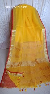 Mango yellow and red linen sarees