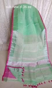 Turquoise green linen sarees
