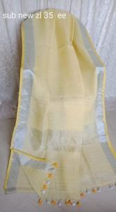 Cream yellow linen sarees