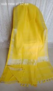 Lemon yellow linen sarees