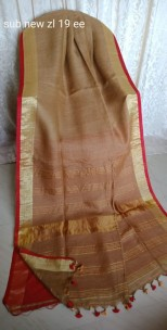 Brown and red linen sarees