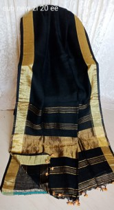 Black linen sarees with gold border