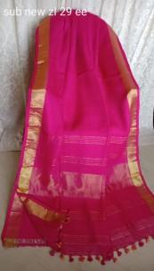 Dark pink linen sarees with gold jari border