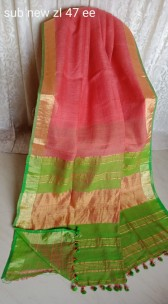 Peach and green linen sarees