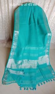 Turquoise blue linen sarees