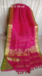 Dark pink with green linen sarees