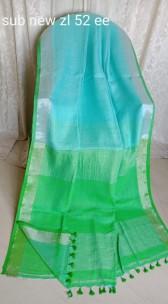Light sky blue and green linen sarees