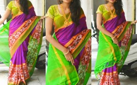 Dark purple and apple green uppada sarees with pochampally border