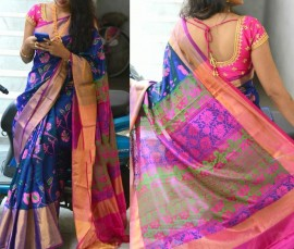 Navy blue and pink uppada silk printed sarees