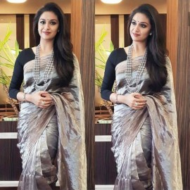 Dark grey uppada tissue sarees