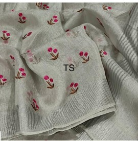 Silver tissue linen sarees with embroidered work
