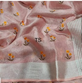 Peach linen tissue Sarees with embroidered work