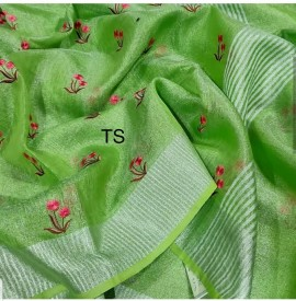 Green linen tissue Sarees with embroidered work