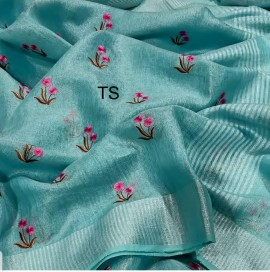 Light blue linen tissue Sarees with embroidered work
