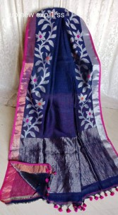 Navy blue and pink linen jamdani sarees