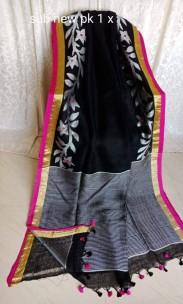 Black and grey linen jamdani sarees