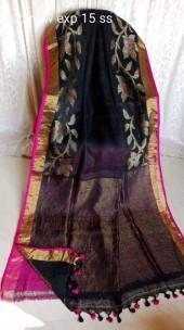 Black with gold jari border linen jamdani sarees
