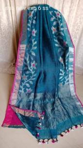 Light blue and pink linen jamdani sarees