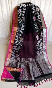 Black and pink linen jamdani sarees