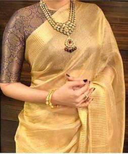Gold Tussar tissue silk sarees