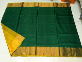 Dark green uppada plain sarees