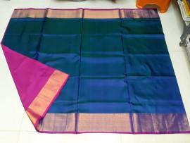 Navy blue and pink uppada plain sarees