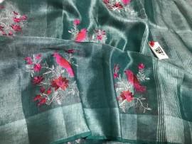 Greenish blue linen embroidered sarees