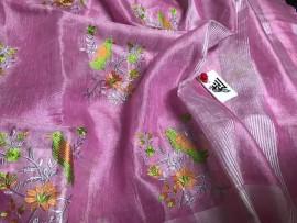 Light pink linen embroidered sarees