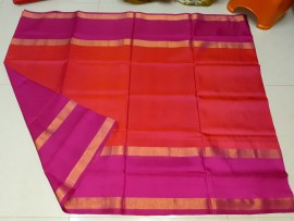 Red with pink uppada plain sarees