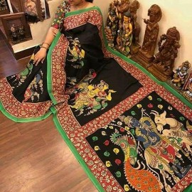 Black and green chenoori silk sarees
