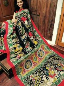 Black with red and green chenoori silk sarees